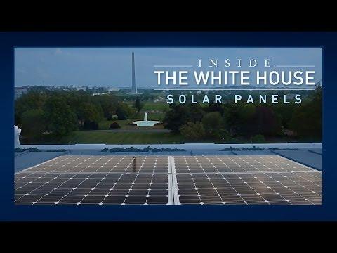 Obama geeft het goede voorbeeld en plaatst zonnepanelen op het dak van het Witte Huis.