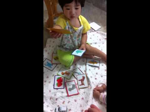 Noah 1 Y 6 ms and his first flash card