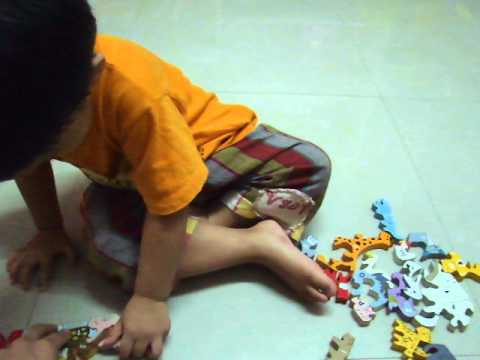A-Z Animals puzzles from backward @ 2.1 years.