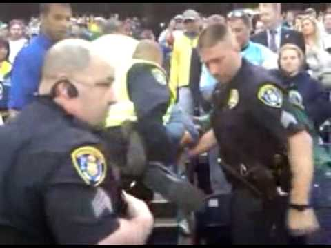 Raw Footage: Cops arrested a football fan for rooting the wrong team in San Diego. (Police State)