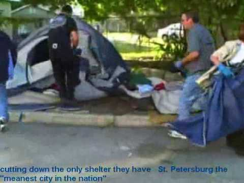 St Petersburg police cutting up homeless tents