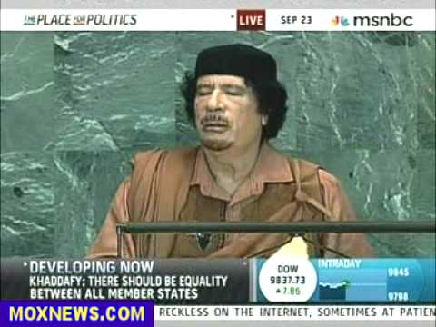 Muammar Gaddafi Speech To United Nations Sept 23, 2009 pt.8