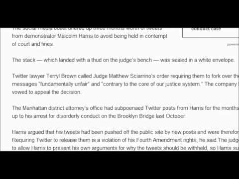 Twitter Hands Over To Police Three Months Of Tweet's To Police Of MALCOLM HARRIS OWS