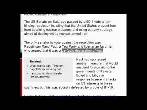 Important U.S. Senate Votes 90-1 Declaration of War : To Stop Iran Development of Nuclear Weapons