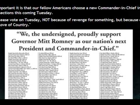 500 Generals and Admirals endorse Romney 500 to 1 - Mutiny if Obama re elected?