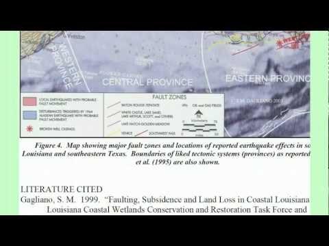 Coastal Louisiana Land Submergence, Fault movements