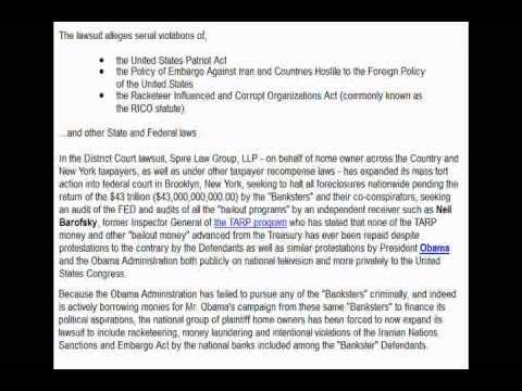 Largest Racketeering Lawsuit in U.S. History: Names Holder, Geitner and Others