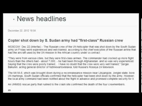 Russia Helicopter Shot Down By S. Sudan Army December 22, 2012