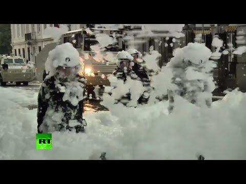 Firemen Protesting Cuts In Brussels Soak Cops In Foam