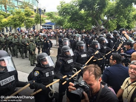 Police Trample and Pepper Spray Protestors At Trump Rally In San Diego