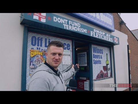 "Tommy Robinson: Cops threaten store over ""Don't fund terrorism"" sign"