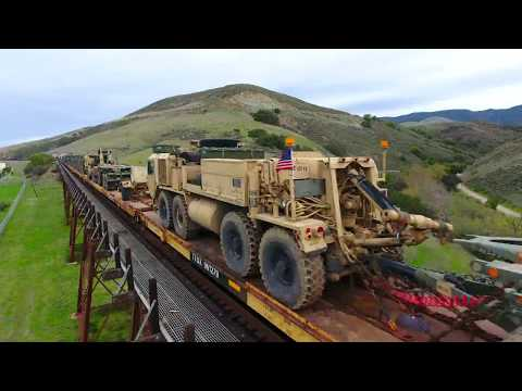 Drone following Military Train into San Luis Obispo