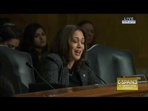 During a confirmation hearing today, Sen. Kamala Harris (D-CA) compared ICE to the KKK.