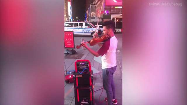 The jaw-dropping moment four men start dancing the Harlem Shake to music played by a talented VIOLINIST in Times Square