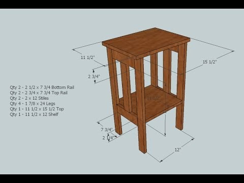 "Simple Side Table using a Kreg jig for pocket holes and one 1"" x 12"" x 6' board"