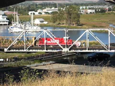 NWP RJCorman southbound out of Petaluma at the swingbridge. 8/29/2011