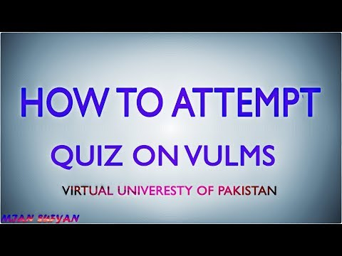 How To Attempt Quiz On VULMS || Virtual University Of Pakistan ||
