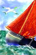 santa in a boat
