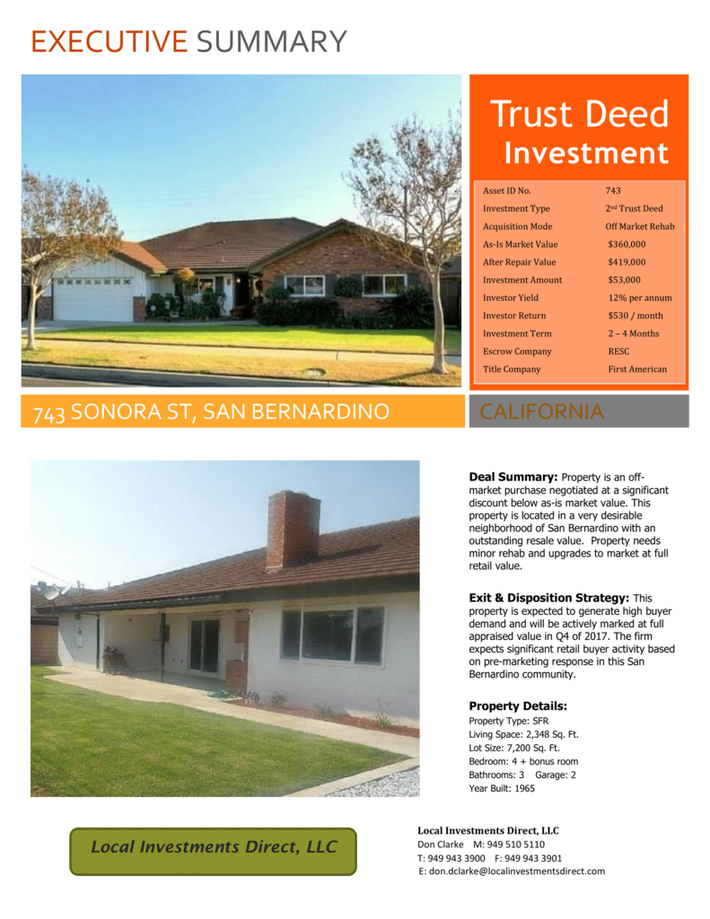 Exec Summary - 743 Sonora San Bernardino (1)-1