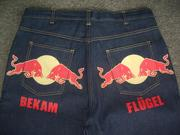 """""""Red Bulls"""" """"Got Wings"""" Hand Crafted Custom Made Denim Jeans"""