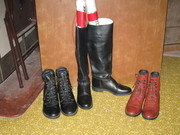 Riding boots, one tall pair and two paddock pairs