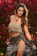 Hand-knit tube top, wrap skirt and custom gemstone necklace