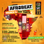 AFROBEAT pt. 2 Brunch and Day Party Oct. 22nd @ Madison Square Tavern No Cover Before 5pm with RSVP