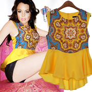 Colorful printing flare sleeveless top/ Model: BT-10305