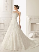 Lace Strapless A-Line Style with Twisted Waistline 2013 Wedding Dress