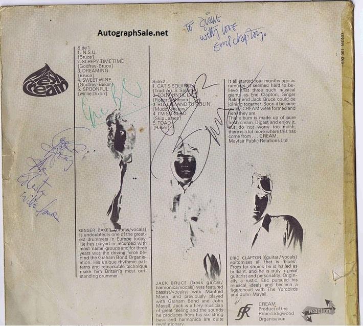 Cream Autographs - Eric Clapton, Ginger Baker & Jack Bruce