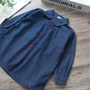Dark Blue Denim Shirt For Girls