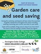 *Seedy Saturday: Garden care and seed saving