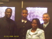 Bishop Ronnie Moore (cousin), self, and family