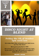 Disco night at blend - next Friday - free entry, great music!