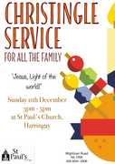 Christingle & Children's Party - Sunday 11th Dec, 3-5 pm, at St Paul's Harringay N4 1RW