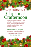Christmas Crafternoon at Stroud Green and Harringay Library on Dec 15th in aid of Mind