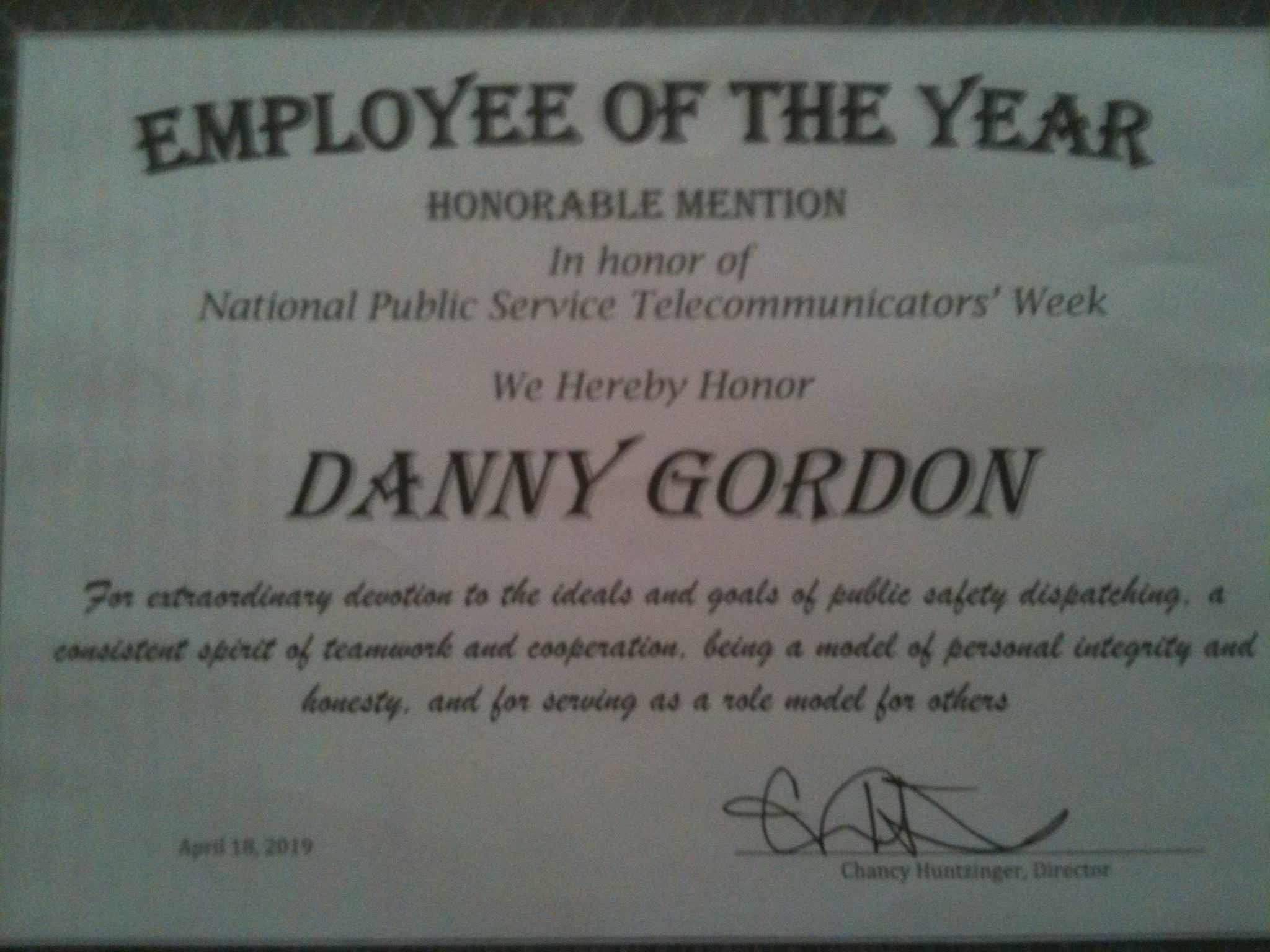employee of the year honorable mention 2019