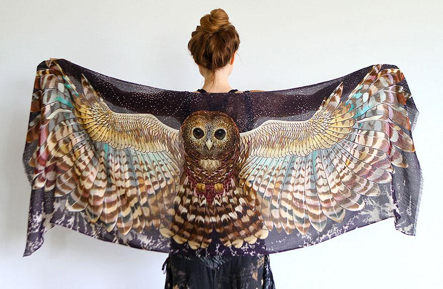 მოსასხამი ფრთები, ქველი, ფრინველები, ხელოვნება, ჩიტები, იდეა, კრეატივი, შემოქმედება, შარფი, qwelly, art, birds, frinvelebi, mosasxami, frtebi, fly