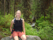 Aub posing on the trail to Trask Lakes