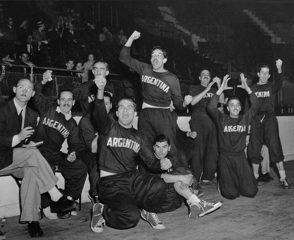 Argentine Olympic Basketball Team at Harringay Arena, 1948