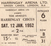 Ticket for Tom Arnold's Circus at the Harringay Arena