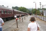 Great Smoky Mountain Train at the station in Bryson City, NC