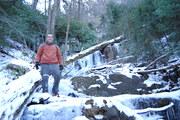 Ronnie below frozen Anakeesta Falls