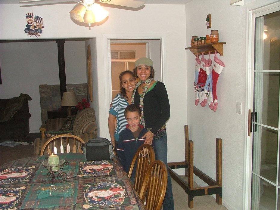 Elijah, Chloe, and Mom in Big Bear cabin