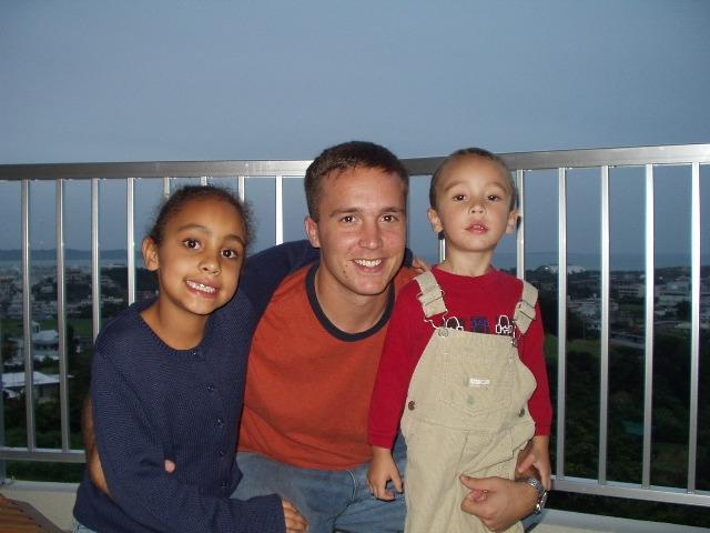 Dad, Elijah and Chloe at home in Japan