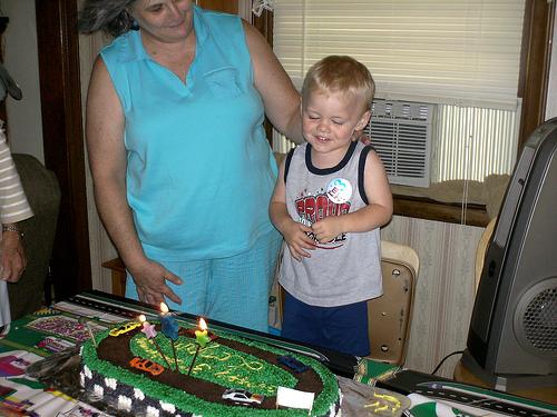 Logan with his birthday cake