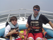 Miller and Josh getting ready to Parasail in the OBX