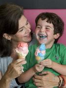 Mom and Seph enjoy ice cream