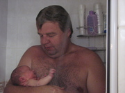 John in the shower with Dad