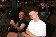Todd and Brandon enjoying Buscuits Baseball